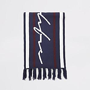 Prolific - Marineblauwe gebreide sjaal met strepen