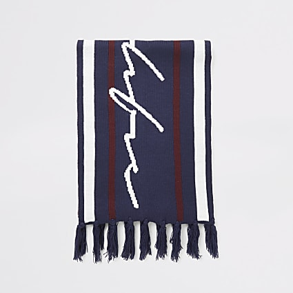 Prolific navy stripe knitted scarf