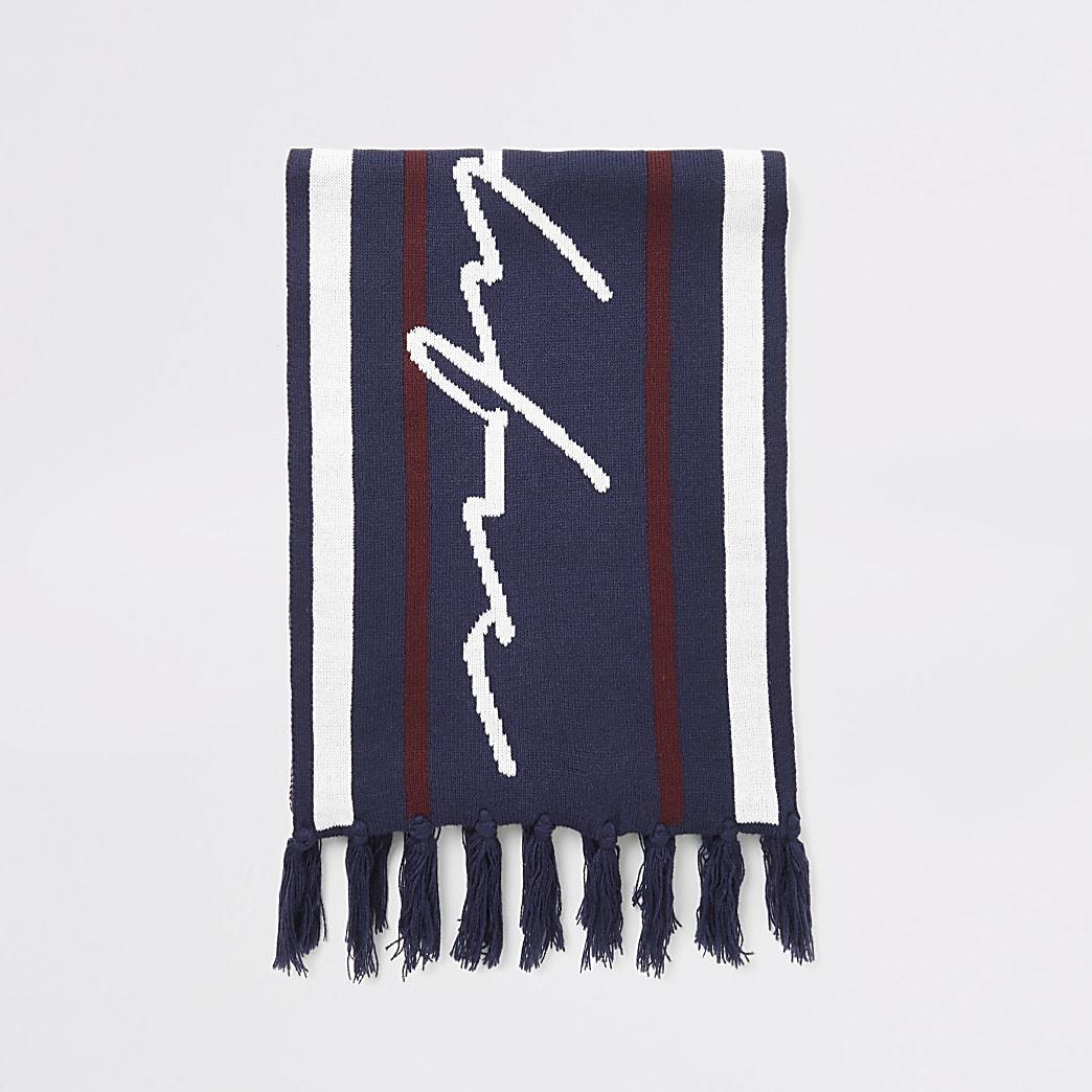 Prolific - Marineblauwe gestreepte gebreide sjaal