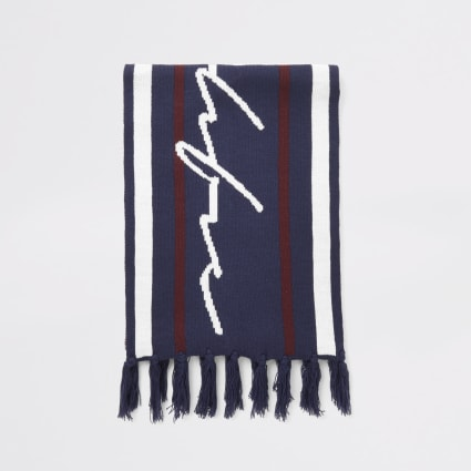 Navy stripe Prolific knitted scarf