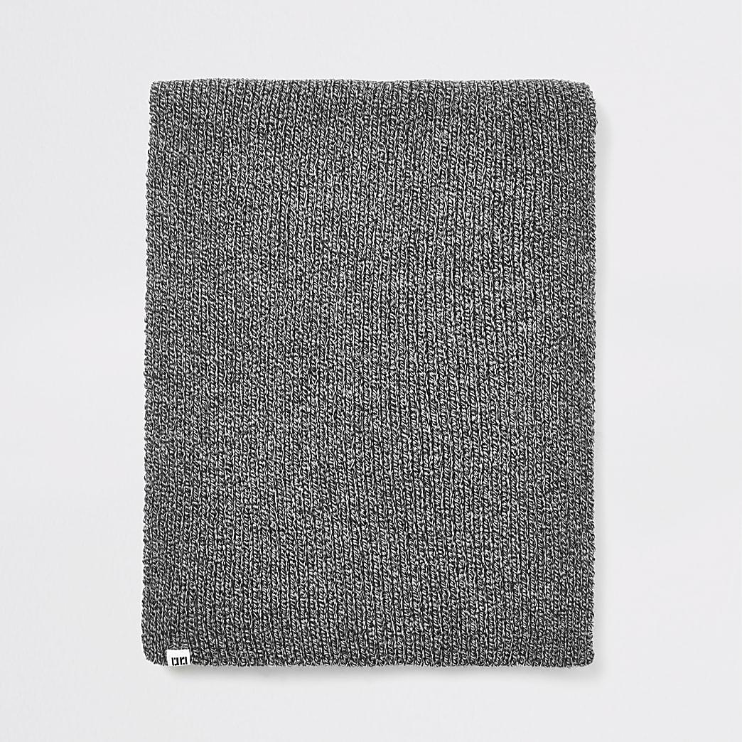 Grey twist knit scarf
