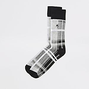 Maison Riviera - Grijze geruite sokken