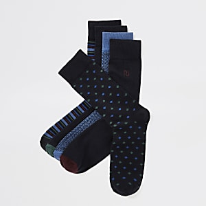 Lot de 5 paires de chaussettes bleues à motifs variés