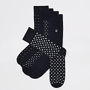 Marineblaue Socken mit Punkten und RVR-Stickerei,5-Set