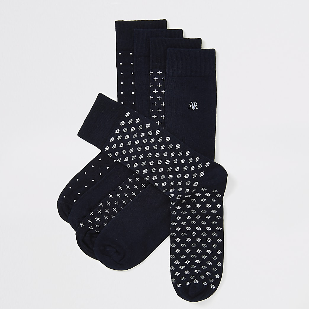 Lot de5 chaussettes bleu marineà pois et broderie RVR