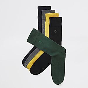 Maison Riviera - Set van 5 sokken met gele sok