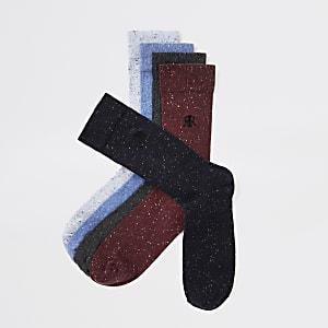 Set van 5 bordeauxrode meerkleurige RI-sokken