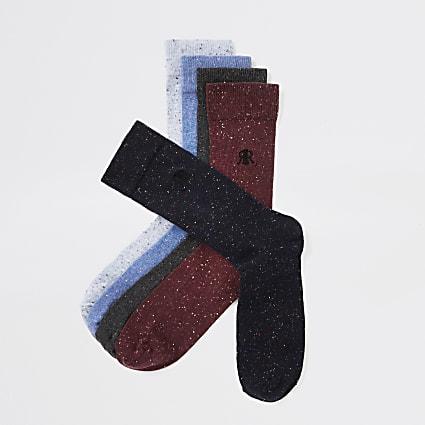 Burgundy multicoloured RI socks 5 pack