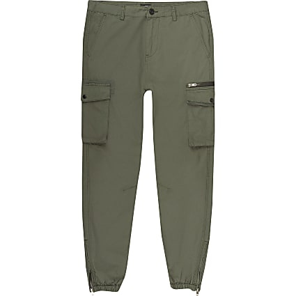Big and Tall khaki cargo trousers