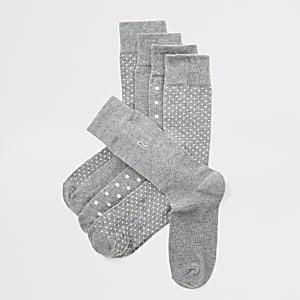 Grijze RI sokken met stippen set van 5
