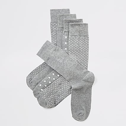 Grey spot printed RI socks 5 pack