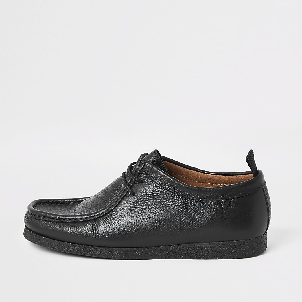 Black leather lace up shoes