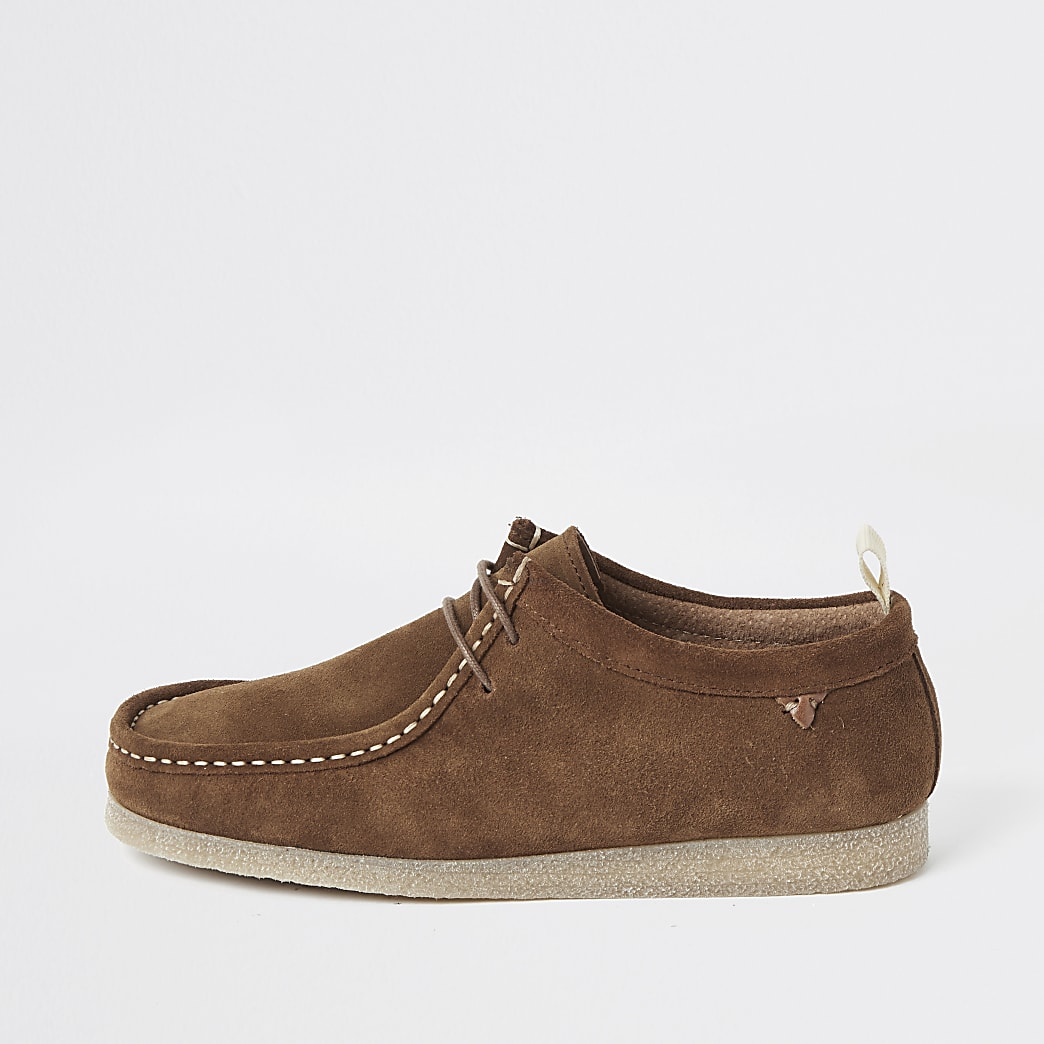 Brown suede lace-up moccasin shoe