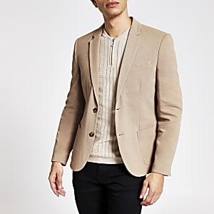 Einreihiger Skinny Fit Piqué-Blazer in Braun