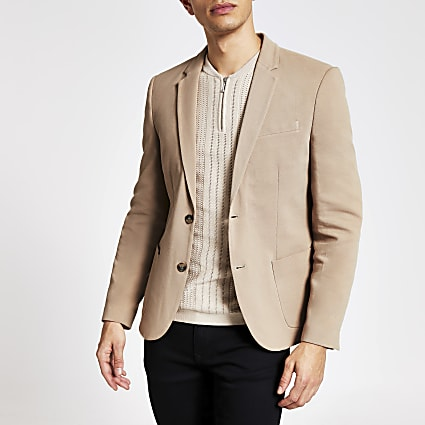 Brown single button skinny fit pique blazer