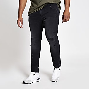 Big and Tall - Zwarte wash ripped skinny jeans