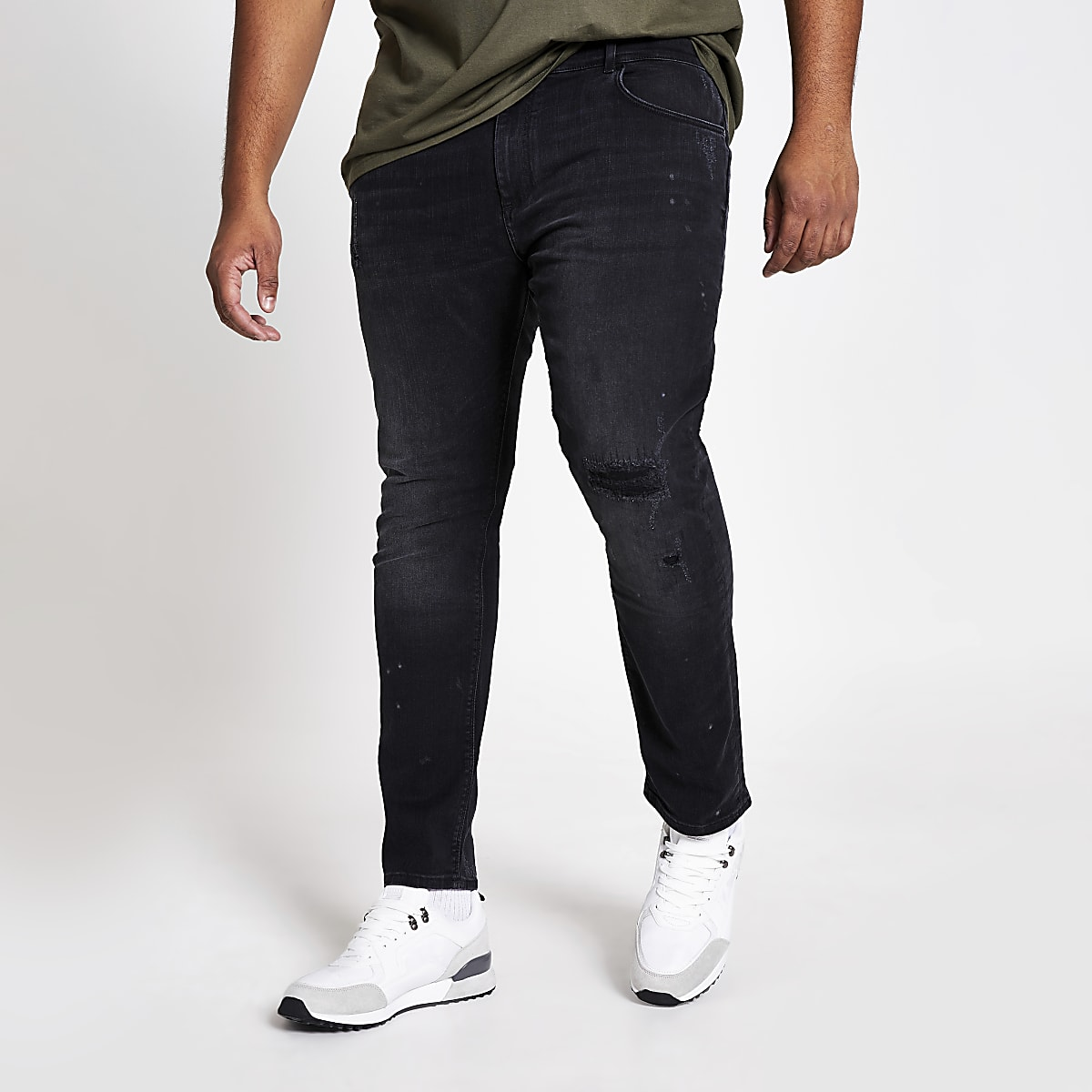 Big and Tall – Jean skinnydéchiré noir délavé