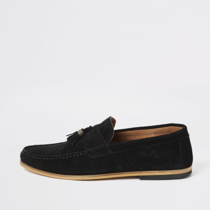 Black suede tassel wide fit loafers