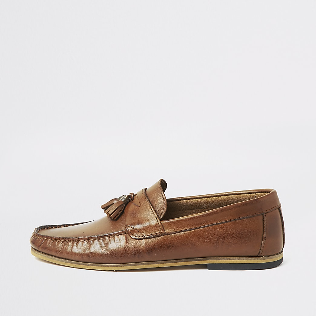 Brown leather wide fit tassel loafers