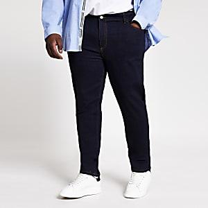 Big and Tall – Dunkelblaue Sid – Skinny Jeans