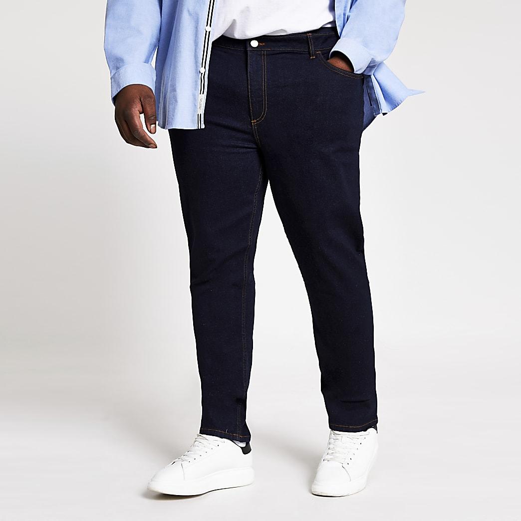Big and Tall - Sid - Donkerblauwe skinny jeans