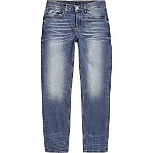 Big and Tall - Blauwe slim-fit Dylan jeans