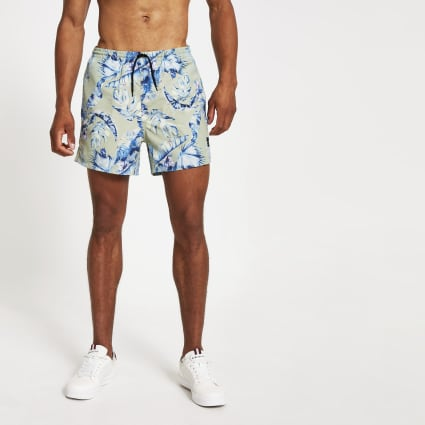 Only & Sons stone leaf printed swim shorts
