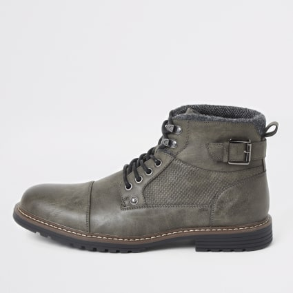 Dark grey buckle side lace-up wide fit boots