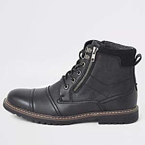 Zwarte veter laarzen met dubbele rits en met wijde pasvorm