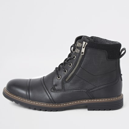 Black double zip lace-up wide fit boots