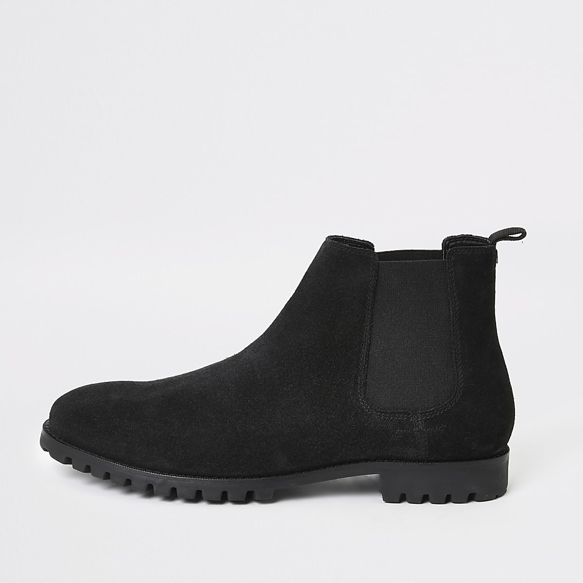 Bottines chelsea en daim noir, coupe large
