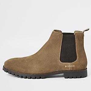 Braune Chelsea-Stiefel aus Wildleder mit weiter Passform
