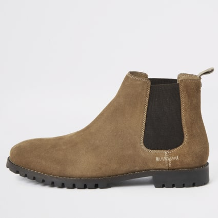 Brown suede wide fit Chelsea boots