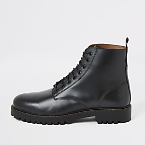 Zwarte leren laarzen met veters