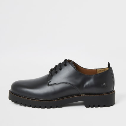 Black chunky sole leather derby shoes