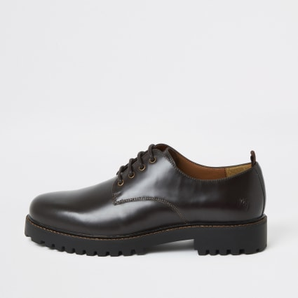 Dark brown chunky sole leather derby shoes