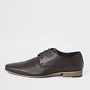 Strukturierte Derby-Schuhe in Dunkelrot