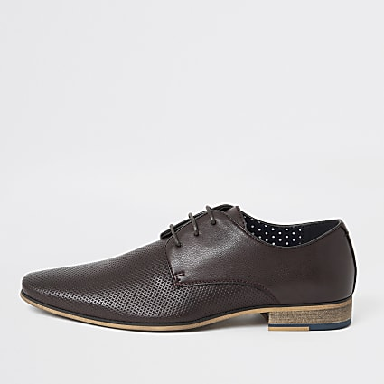 Dark red textured derby shoes