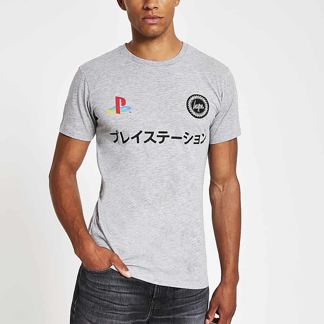 T-shirt à double logo « Hype PlayStation » gris
