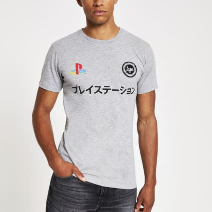 Hype PlayStation grey dual logo T-shirt