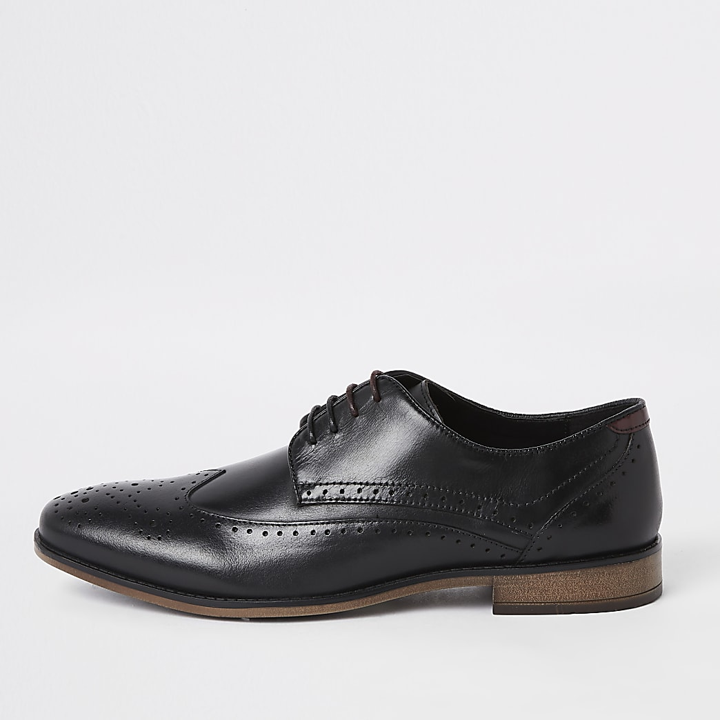 Black wide fit leather lace-up brogues