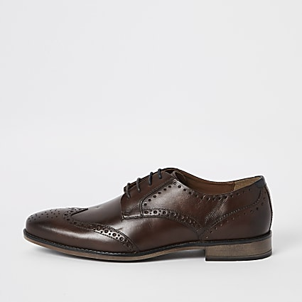 Dark brown wide fit leather lace-up brogues