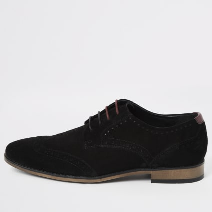 Black wide fit suede lace-up brogues