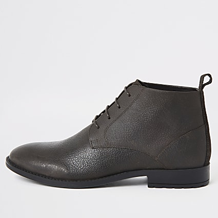 Dark brown wide fit leather chukka boots