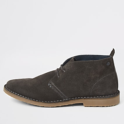 Grey suede wide fit dessert boots