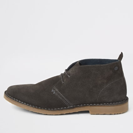 Grey suede wide fit desert boots