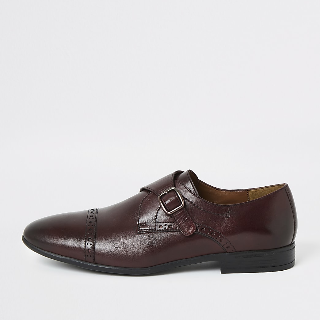 Dark red leather monk strap brogue shoes