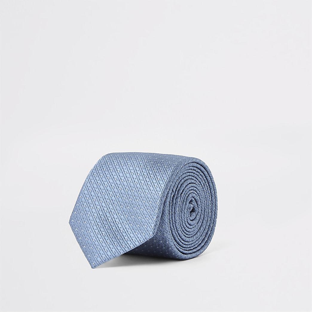 Blue spot print textured tie