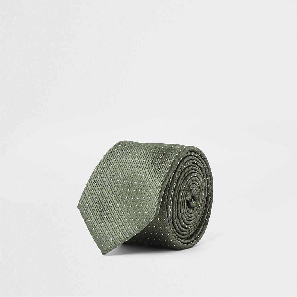 Green spot print textured tie