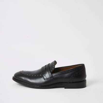 Black leather studded loafers